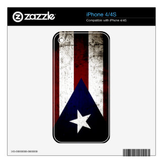 Black Grunge Puerto Rico Flag Skin For iPhone 4S