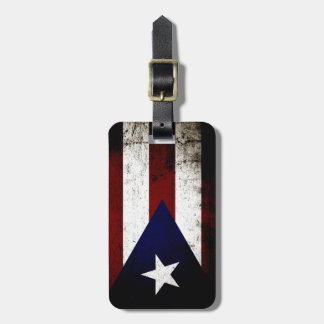 Black Grunge Puerto Rico Flag Tag For Bags