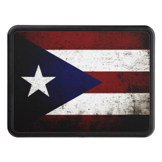 Black Grunge Puerto Rico Flag Tow Hitch Cover
