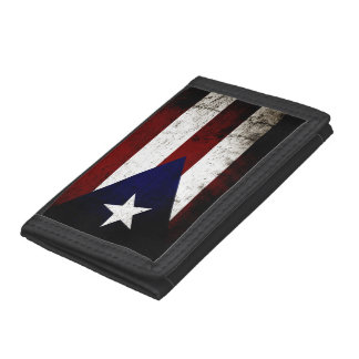 Black Grunge Puerto Rico Flag Trifold Wallets