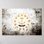 Black Grunge Rhode Island State Flag Print