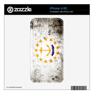 Black Grunge Rhode Island State Flag Skins For The iPhone 4S
