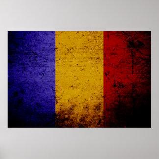 Black Grunge Romania Flag Poster