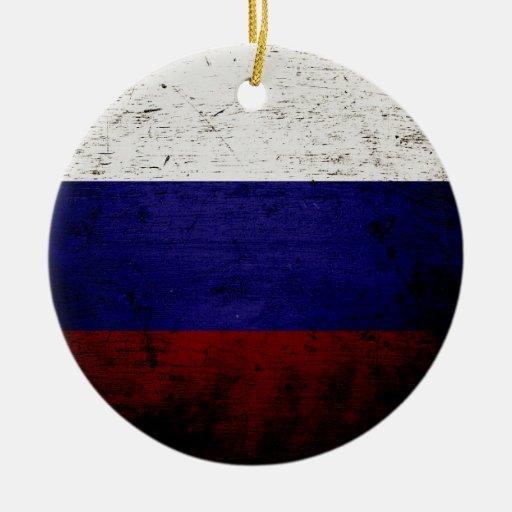Black Grunge Russia Flag Ornament