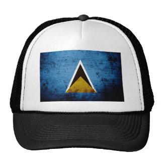 Black Grunge Saint Lucia Flag Trucker Hat