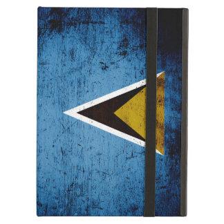 Black Grunge Saint Lucia Flag iPad Air Case