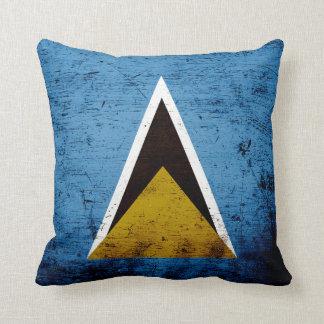 Black Grunge Saint Lucia Flag Throw Pillow