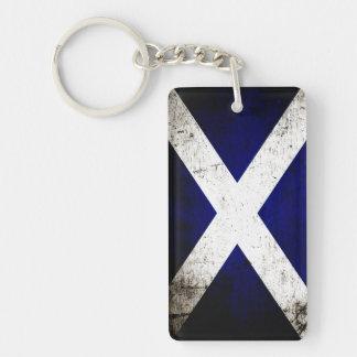 Black Grunge Scotland Flag Keychain