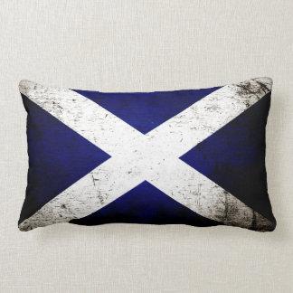 Black Grunge Scotland Flag Lumbar Pillow