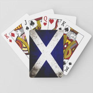 Black Grunge Scotland Flag Playing Cards