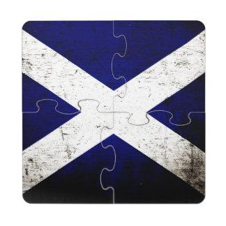Black Grunge Scotland Flag Puzzle Coaster