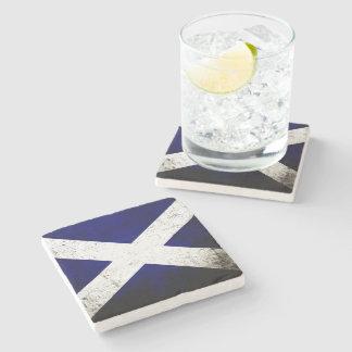 Black Grunge Scotland Flag Stone Coaster
