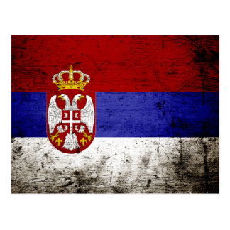 Black Grunge Serbia Flag Post Cards