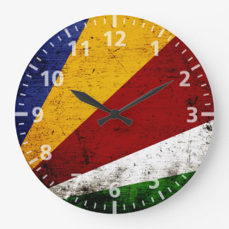 Black Grunge Seychelles Flag Large Clock