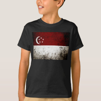 Black Grunge Singapore Flag T-Shirt