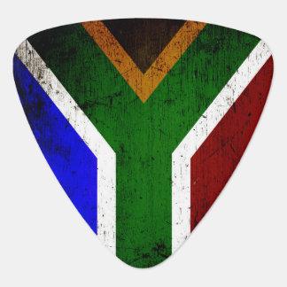 Black Grunge South Africa Flag Guitar Pick