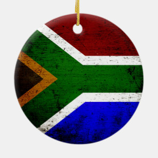 Black Grunge South Africa Flag Double-Sided Ceramic Round Christmas Ornament