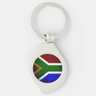 Black Grunge South Africa Flag Silver-Colored Swirl Metal Keychain