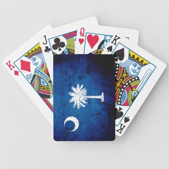 Black Grunge South Carolina State Flag Bicycle Playing Cards