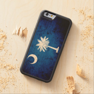 Black Grunge South Carolina State Flag Carved Maple iPhone 6 Bumper Case