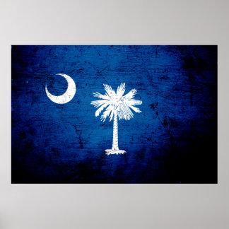 Black Grunge South Carolina State Flag Poster