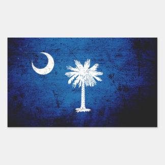 Black Grunge South Carolina State Flag Rectangular Stickers