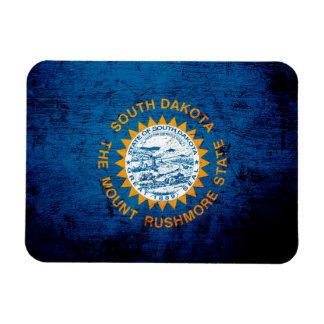 Black Grunge South Dakota State Flag Magnet