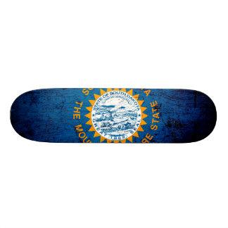 Black Grunge South Dakota State Flag Skateboard Deck