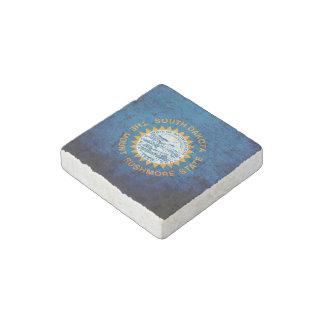 Black Grunge South Dakota State Flag Stone Magnet