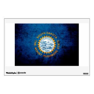 Black Grunge South Dakota State Flag Wall Sticker
