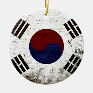 Black Grunge South Korea Flag Ceramic Ornament