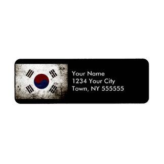 Black Grunge South Korea Flag Label