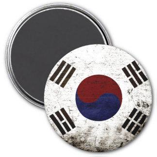 Black Grunge South Korea Flag Magnet
