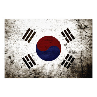 Black Grunge South Korea Flag Photo Print