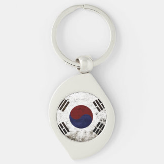 Black Grunge South Korea Flag Silver-Colored Swirl Metal Keychain