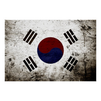 Black Grunge South Korea Flag Poster