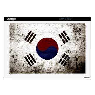 "Black Grunge South Korea Flag Skin For 17"" Laptop"