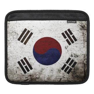 Black Grunge South Korea Flag Sleeve For iPads