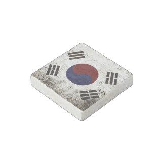 Black Grunge South Korea Flag Stone Magnet