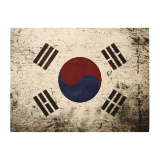 Black Grunge South Korea Flag Wood Print