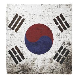 Black Grunge South Korea Flag Bandana