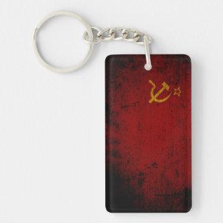 Black Grunge Soviet Union Flag Keychain