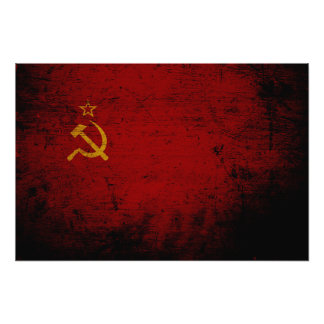 Black Grunge Soviet Union Flag Photo Art