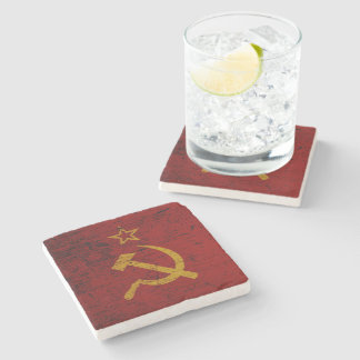 Black Grunge Soviet Union Flag Stone Coaster