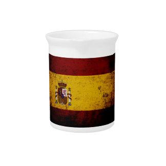 Black Grunge Spain Flag Drink Pitcher