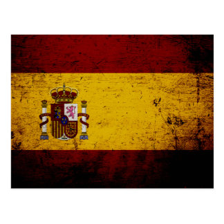 Black Grunge Spain Flag Postcard