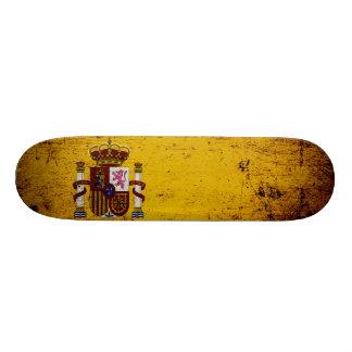 Black Grunge Spain Flag Skateboard