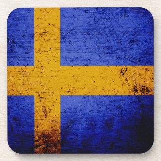 Black Grunge Sweden Flag Beverage Coaster