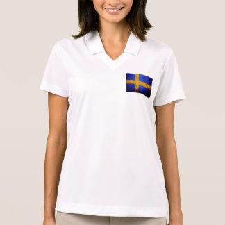 Black Grunge Sweden Flag Polo Shirt