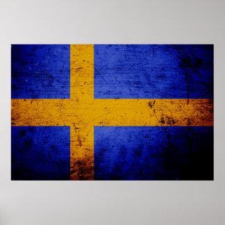 Black Grunge Sweden Flag Poster